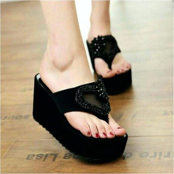 koleksi foto dan model serta gambar caudkh jual sandal wedges wanita terbaru tinggi 5 cm hitam black korean style model keren w451 sendal cewe cantik unik lucu casual santai murah bkn nevada dari Sandal Wedges
