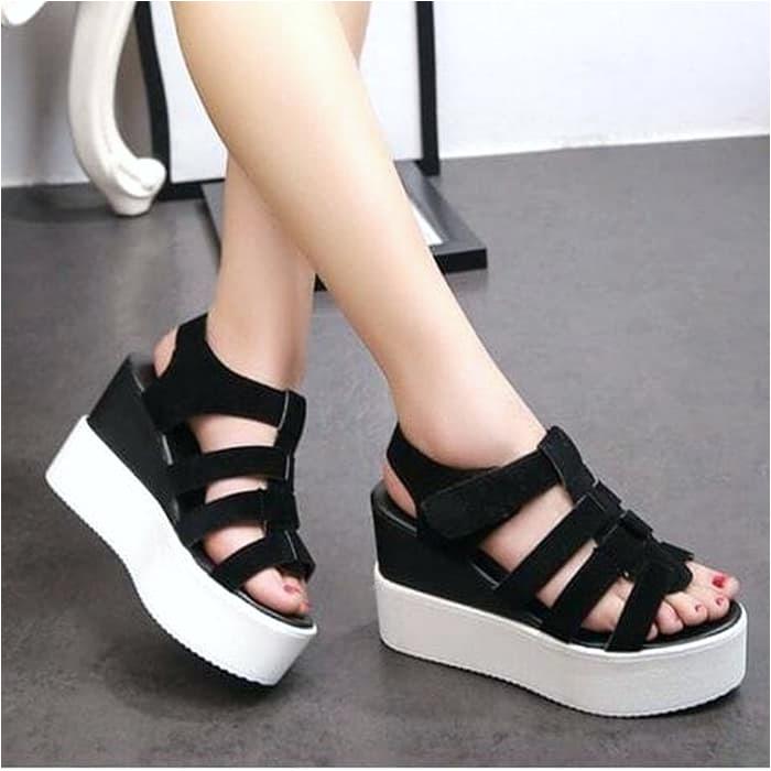 koleksi foto dan model serta gambar wedges wanita terbaru 2020 sendal hak tinggi korea dewasa sandal perempuan import branded murah mewah sepatu cewek sandal wedges jh51 hitam hitam 37 no605 i untuk Sandal Wedges