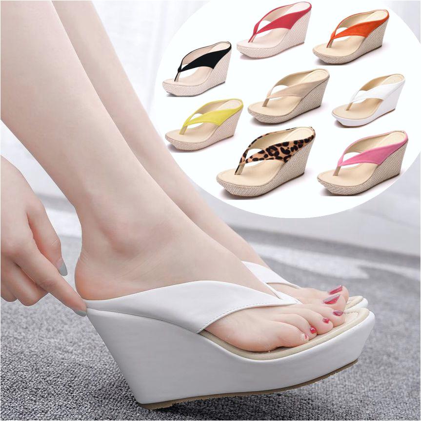 koleksi foto dan model serta gambar Kristal Ratu Platform Wedges Sandal Wedges Sandal Jepit Tinggi Tumit Sandal Sandal Putih Pantai Sandal Bohemia mengenai Sandal Wedges