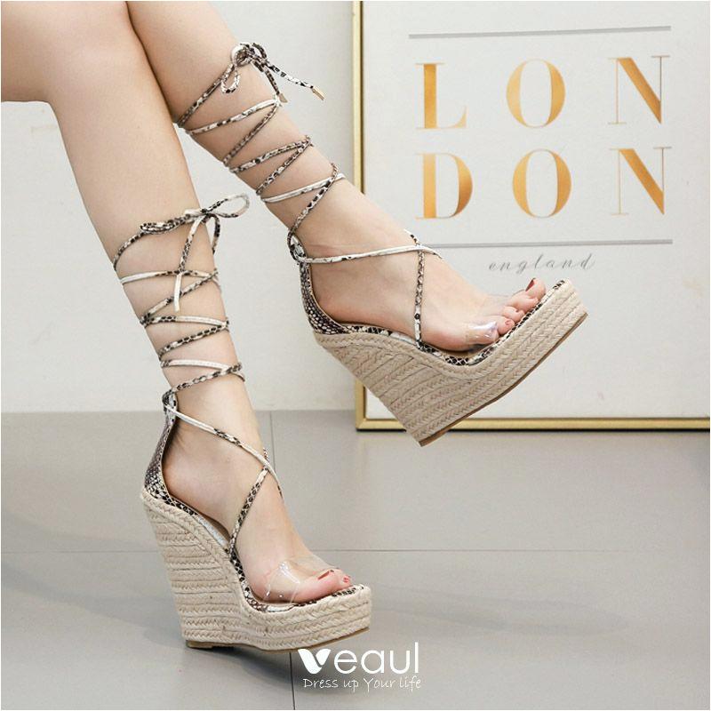 koleksi foto dan model serta gambar beige casual womens sandals 2020 snakeskin print ankle strap 13 cm wedges open peep toe sandals dari Sandal Wedges