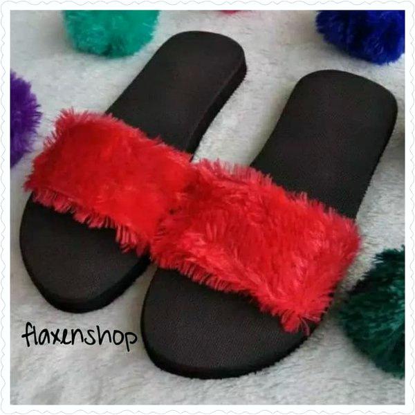 koleksi foto dan model serta gambar 2e1f455 jual sandal selop wanita slip on sandal wanita sandal selop bulu merah 37 dari sandal selop wanita