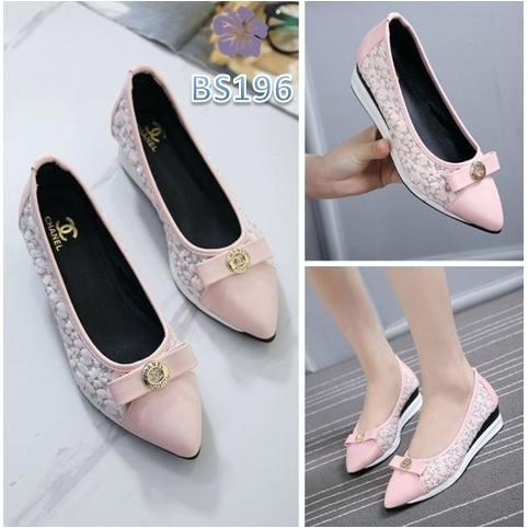 prd cuci gudang sepatu wedges wanita lancip lace kate2 pink hita tentang sepatu wedges wanita