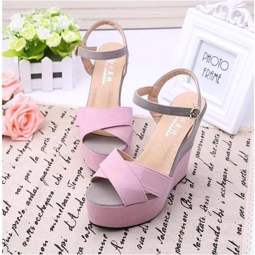 shwa681 pink sepatu wedges wanita cantik elegan 12cm mengenai sepatu wedges wanita