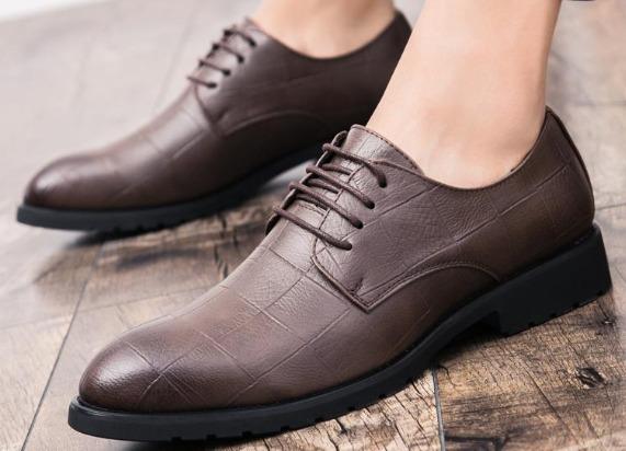 Pinsv Kulit Asli Pria Formal Brogue Sepatu untuk Pernikahan Datar Pria Sepatu Gaun-Intl