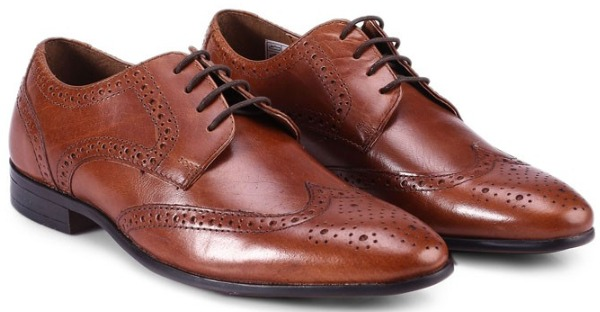 Sepatu brogue pria Topman Brown Leather Brogue Shoes