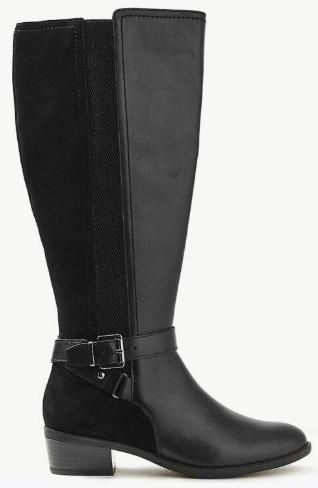 MARKS & SPENCER Leather Block Heel Strap Knee Boots