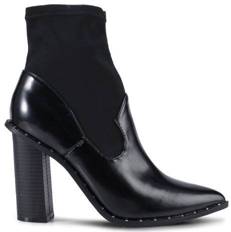 MISSGUIDED Flared Heel Pu Mixed Fabric Ankle Boots