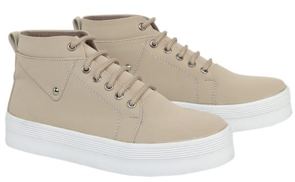 Catenzo - Sepatu Kets Wanita Sneakers Boots Wanita Krem Synthetic Leather DH 065