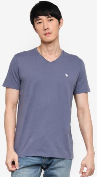 T-Shirt pria Abercrombie & Fitch Neutral V-Neck Multipack Tee model terbaru