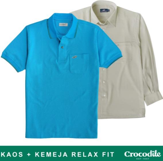 Harga kaos polo shirt pria merk Crocodile Special Promo Bundling Kaos Kerah dan Kemeja Relax Fit original koleksi foto gambar model terbaru