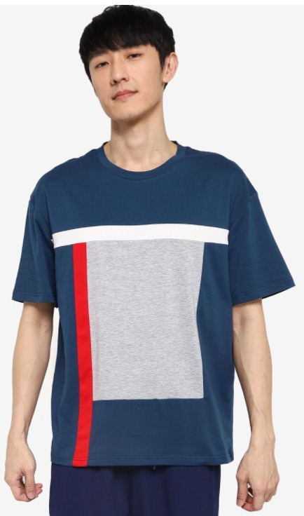 ZALORA BASICS Multi Blocked Kaos Oversized T-Shirt Pria model terbaru