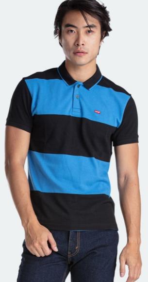 Harga kaos polo shirt pria merk Levi's Blrmt New Polo 10 Eng Rugby Strp Polo Caviar Bay (58859-0034) original model terbaru