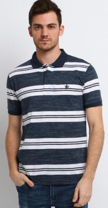 harga merk Osella Baju kaos Pria Polo Shirt Lengan Pendek Stripe Indigo original koleksi foto gambar model terbaru