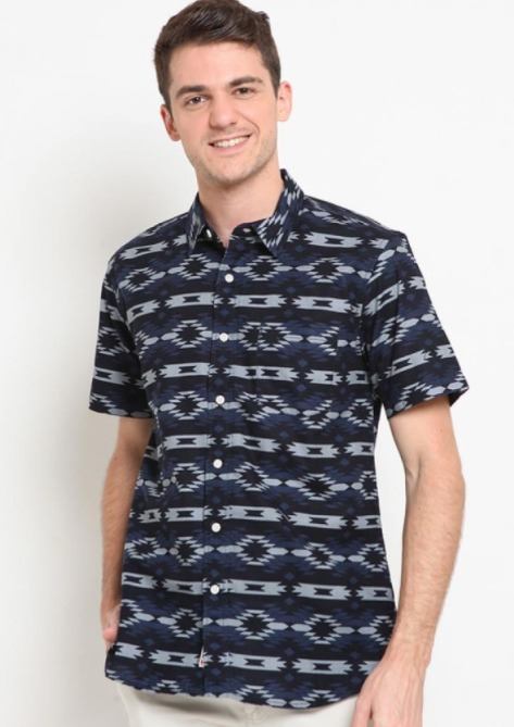 Kemeja pria merk Hammer Man Shirt Print D1SP016-H1