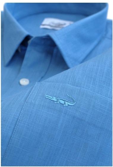 Kemeja pria merk Crocodile LINE Olympic Blue - Men Shirt Kemeja Lengan Pendek - Slim Fit