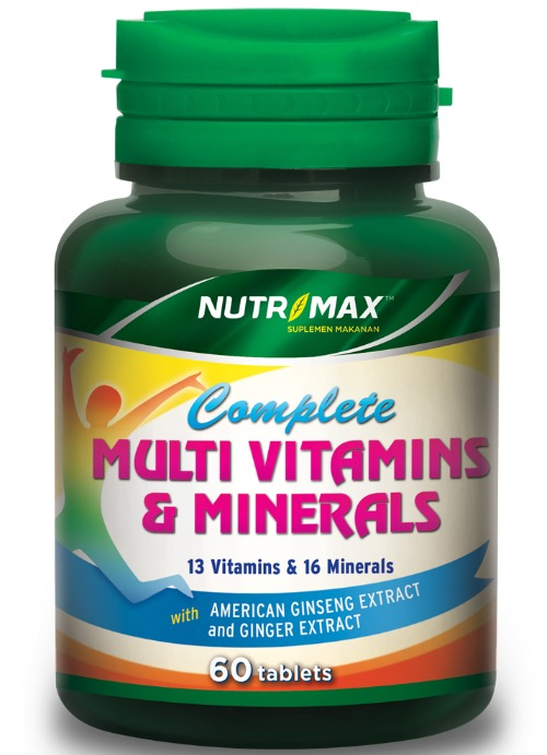 Nutrimax Complete Multivitamins & Minerals Plus American Ginseng Extract & Ginger Extract
